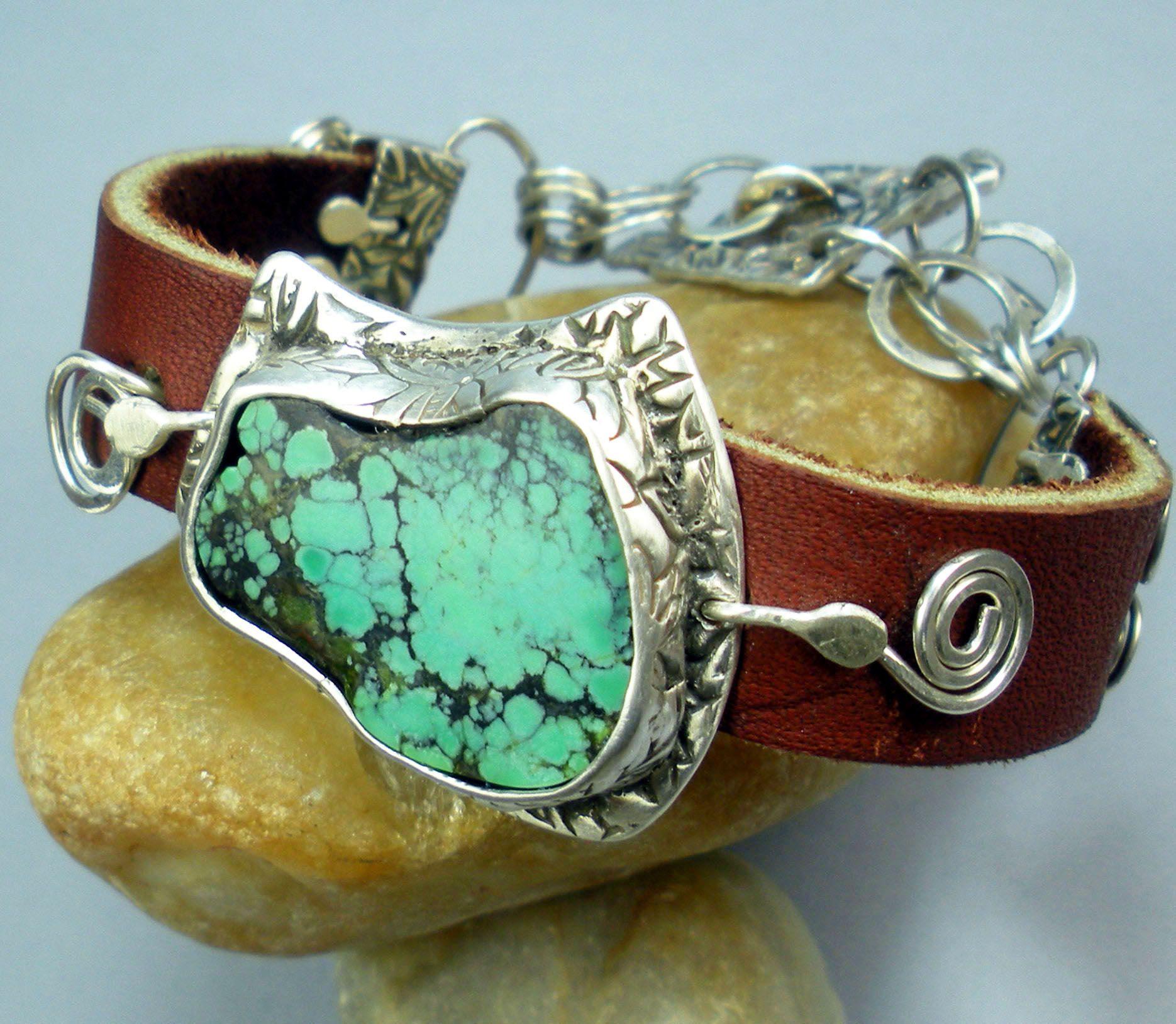 Cool Stone Leather Metal Cuff Bracelet