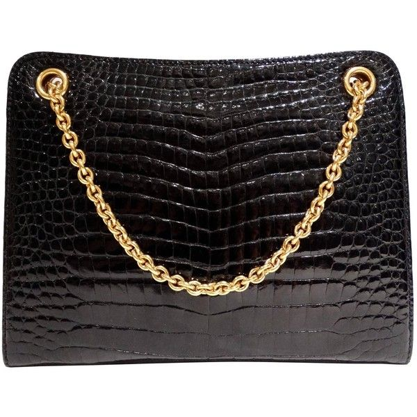 96295a61a794 Rare 1950s Gucci Black Crocodile Handbag ($3,405) ❤ liked on Polyvore  featuring bags, handbags, gucci purses, croco handbag, handbags purses,  vintage ...