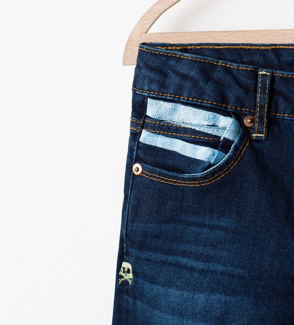 zara collection ss15 pantalon denim motifs rayures fit. Black Bedroom Furniture Sets. Home Design Ideas