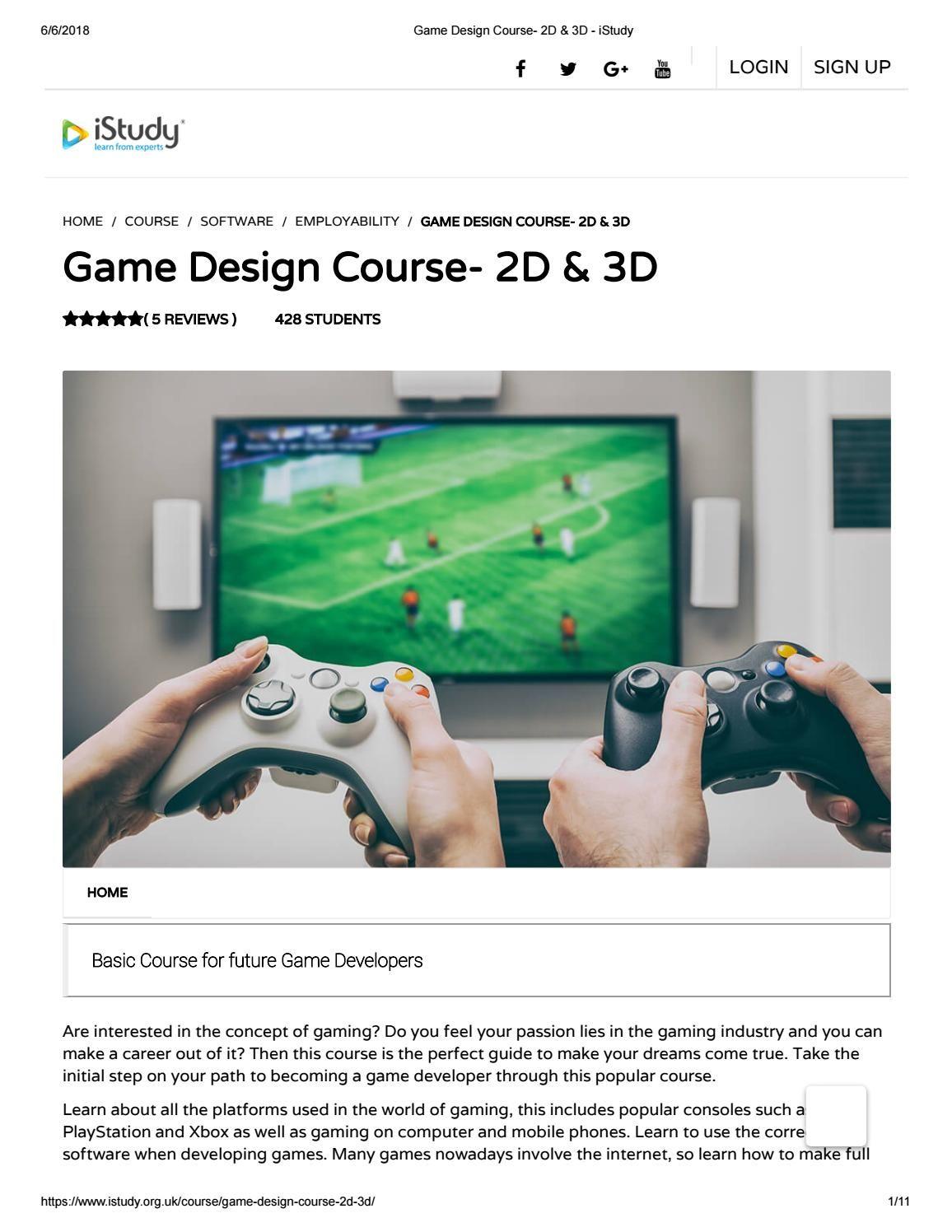 Game design course 2d & 3d istudy Design course, Game