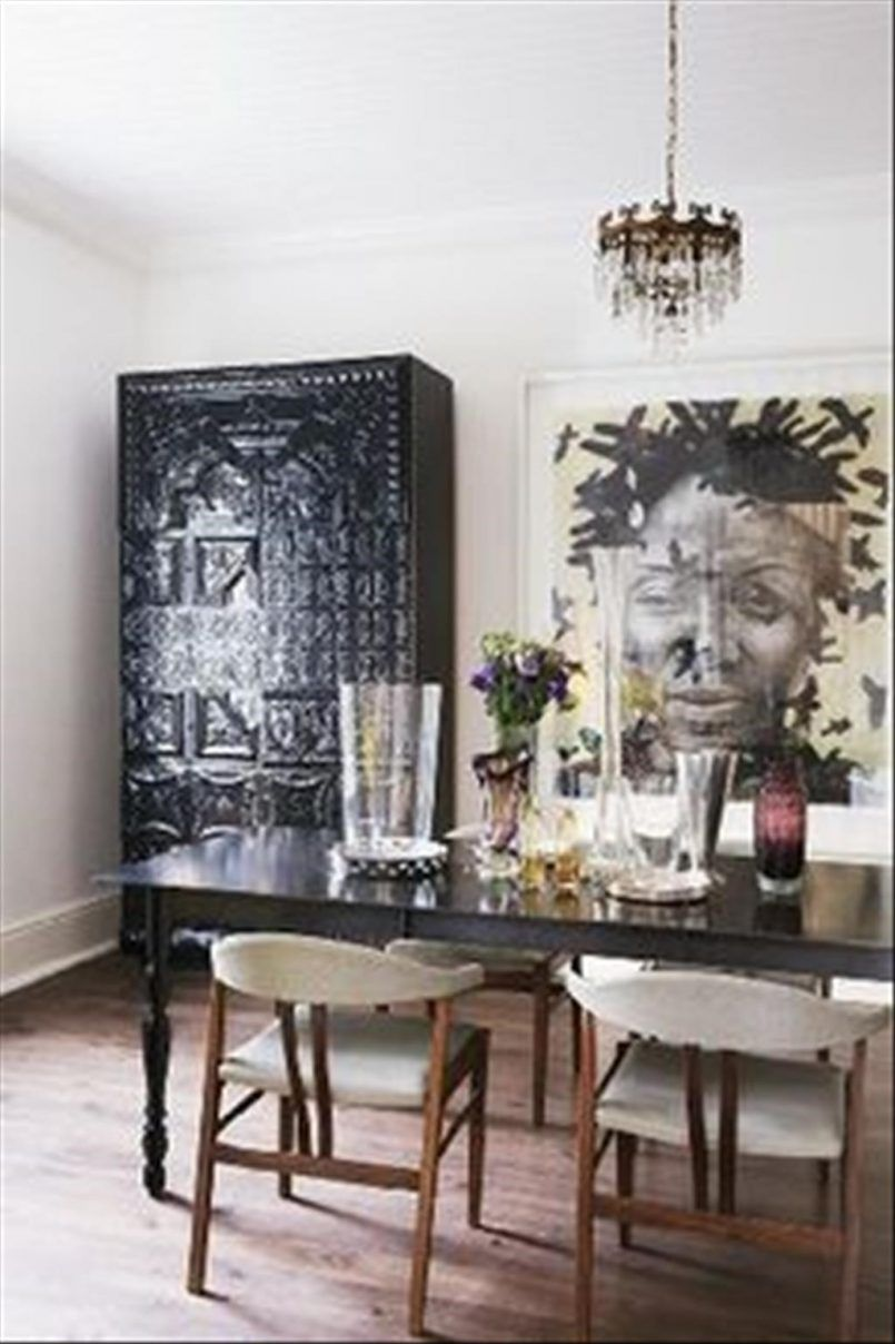 Dining Room Painting With Black Cupboard Also Rectangle Dining Table And Flower Vase Besides White Modern Chair  Wooden Floor  Chandelier   How to Make Your Dining Room Look Glamorous