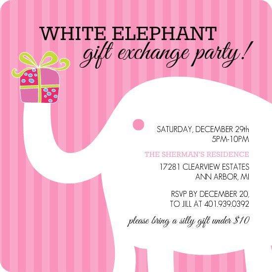 white elephant party  holiday gift exchange ideas  white, party invitations