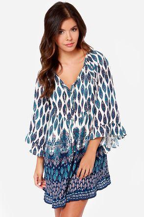 Roxy Blackbird Blue Print Dress