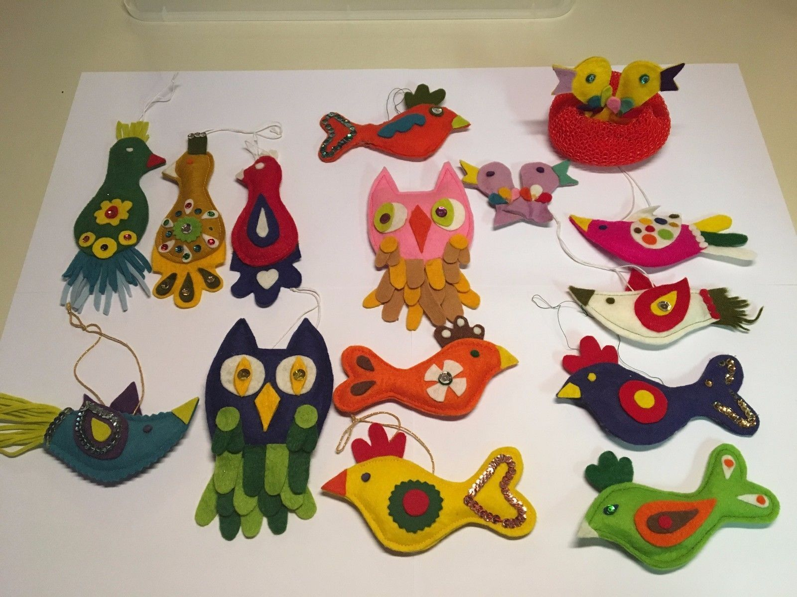 Vintage Handmade Felt & Sequin Bird Christmas Ornaments from patterns featured in the December 1964 issue of Family Circle magazine.