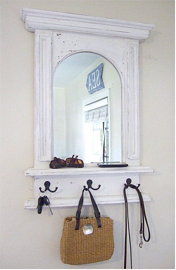 The White Arch Mirror With Shelf Hooks Handmade French