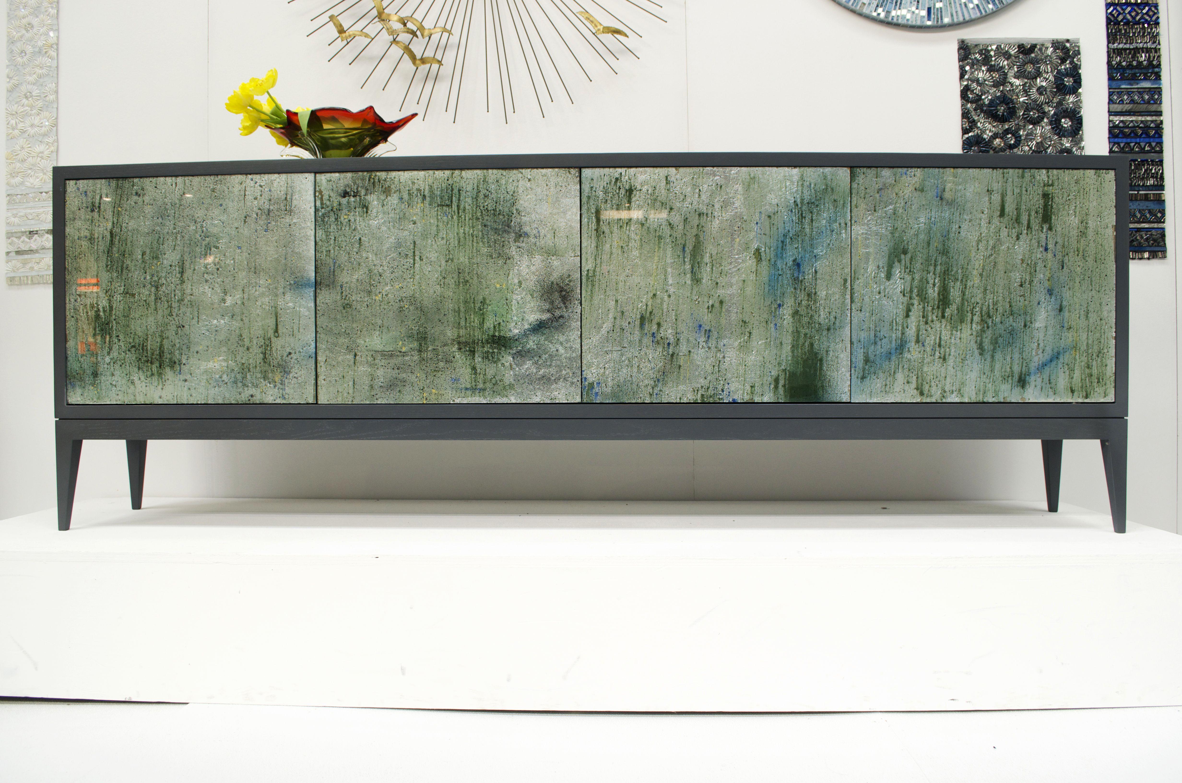 4 Door Milano Buffet In Mystic Glass * Ercole Home   Custom Mosaic Furniture    NYC