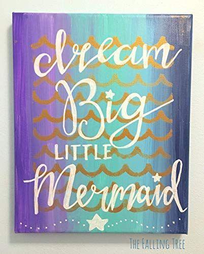 Best Seller Ocean Mermaid Themed Little Girl's Bedroom Nursery Canvas Painting Dream Big Little Mermaid Hand Painted Lettered online - Theveryhotnew