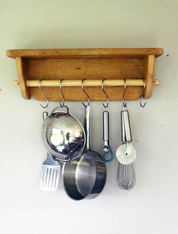 Exceptional Reclaimed Kitchen Shelf With Pan Rail