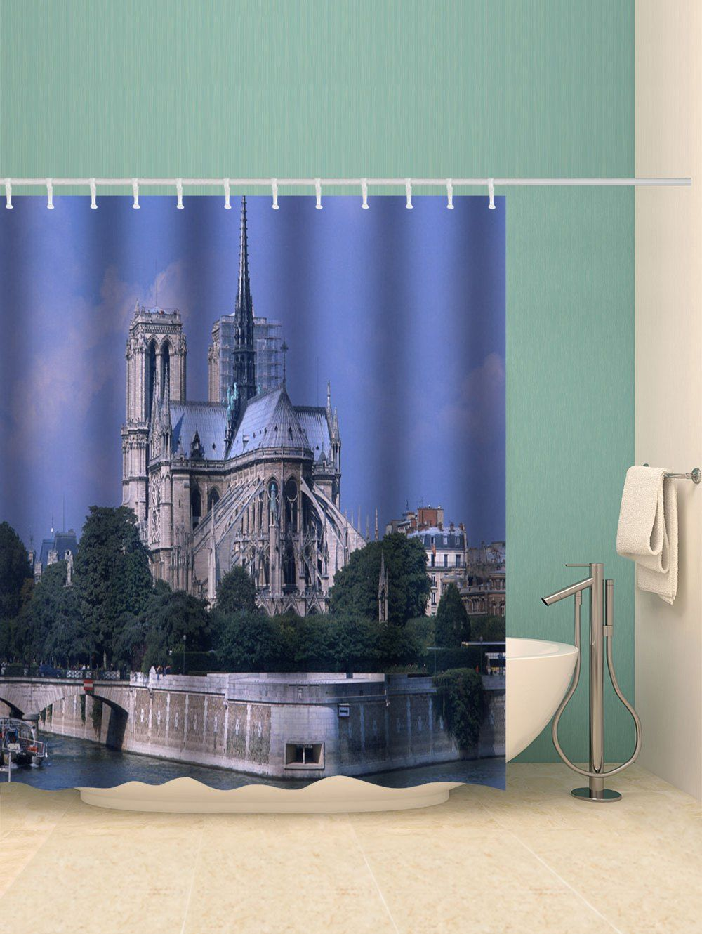Notre Dame Cathedral Print Waterproof Bathroom Shower Curtain Ad