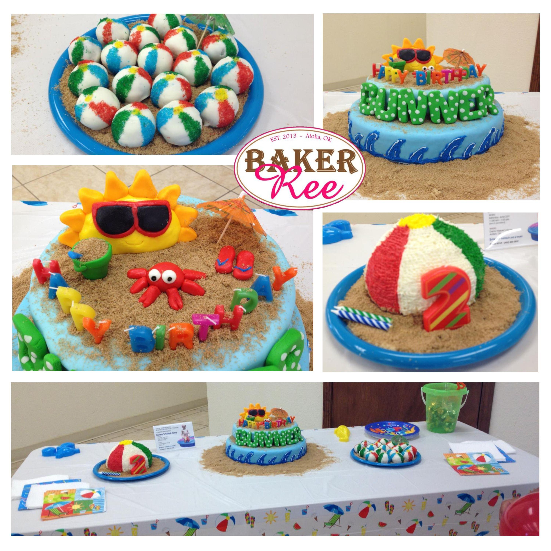 Beach Themed Birthday Cake, Smash Cake, and Cake Balls ...