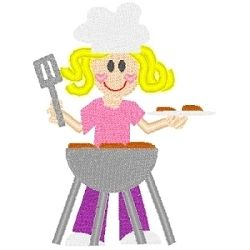 Girl With Bbq Grill Camping Machine Embroidery Designs