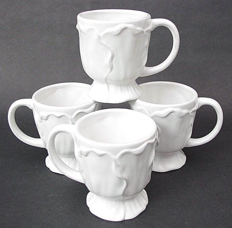Set of 4 Roscher & Co ANTIQUE WHITE LEAF COLLECTION Coffee Mugs ...