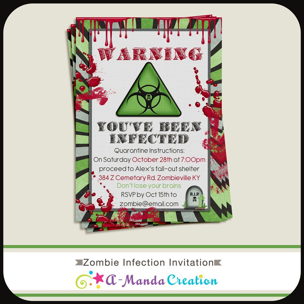 Zombie Infection invitation. This is awesome for a zombie party this ...