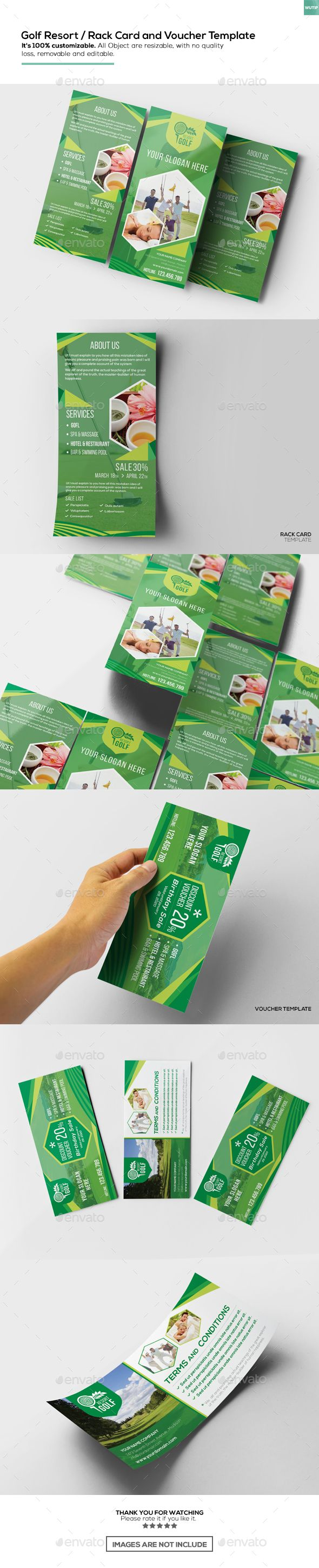 Golf Resort  Rack Card And Voucher Template  Golf Template And