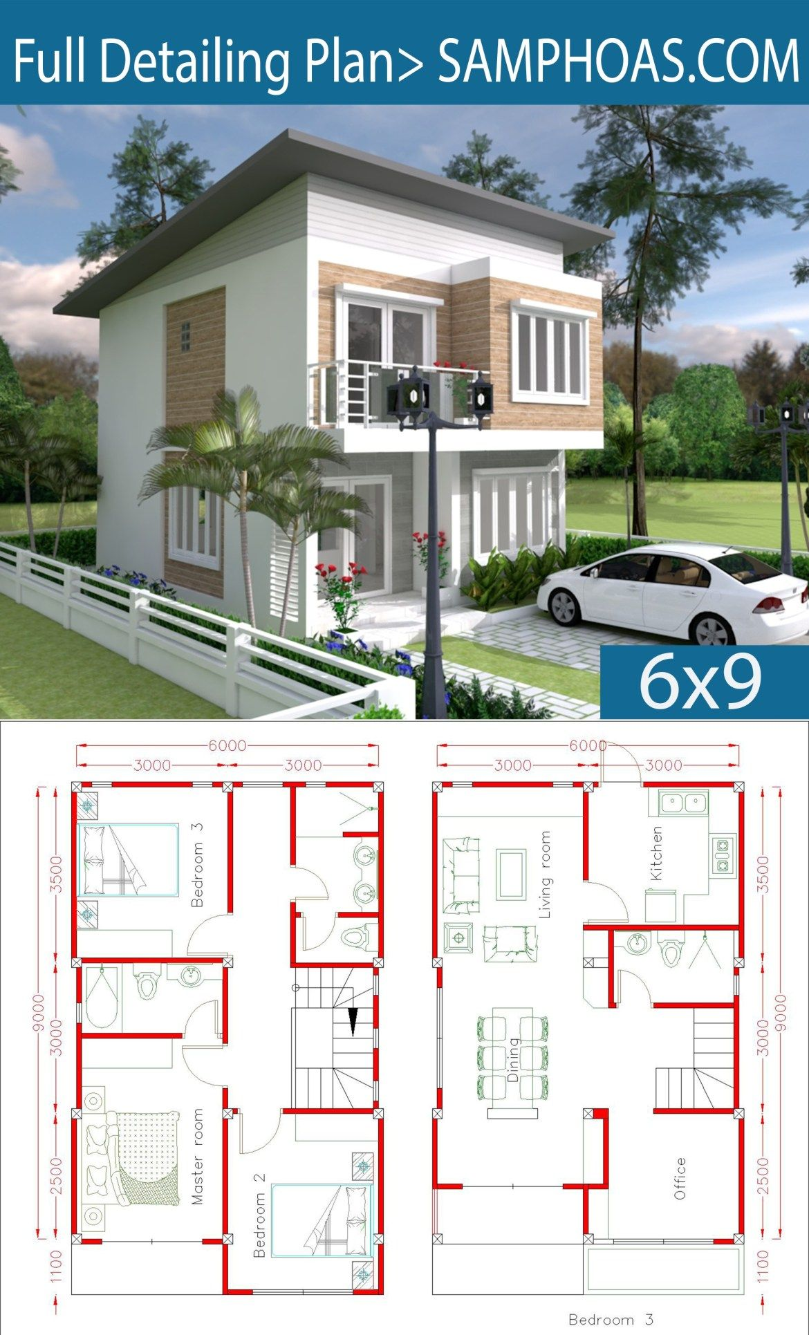 Simple Home Design Plan 6x9m With 3 Bedrooms Samphoas Plansearch Simple House Design Simple House House Layout Plans