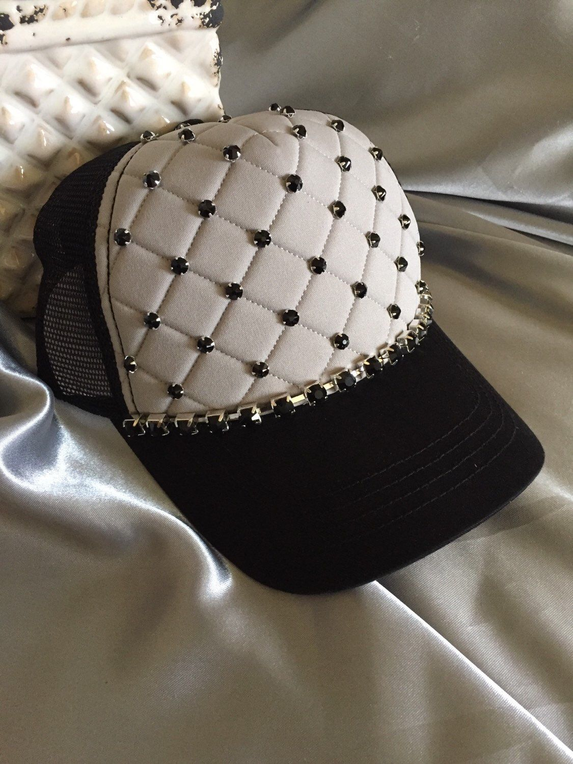 2287ba93 Trucker Hats, Bling Hats, Womens Hats, Hat, Gray Hat, Quilted ...
