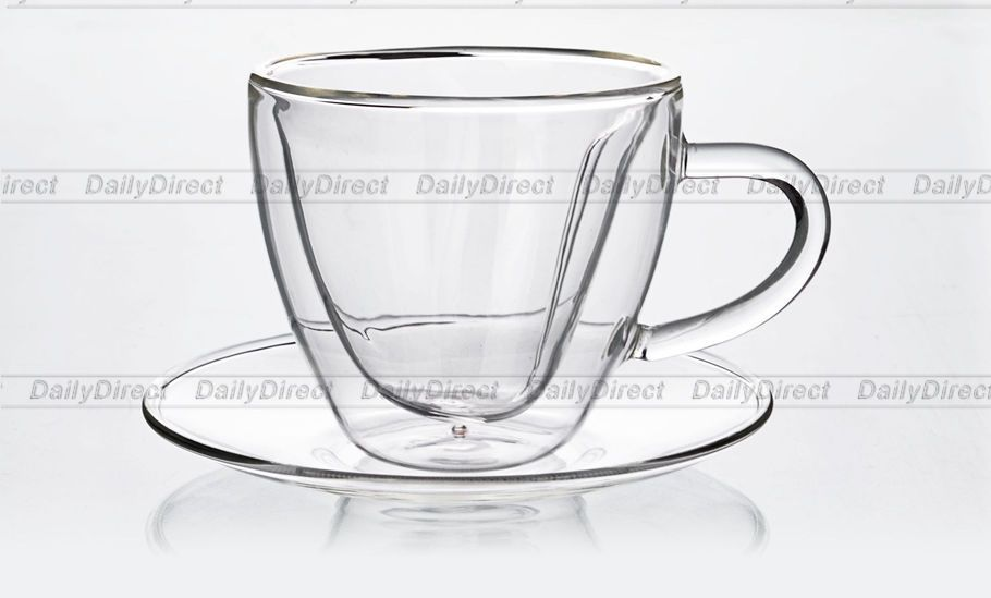 127dcf7ff6 Clear Glass Coffee Mugs and Saucers | 1X SET OF Heat Resistant Double Wall  Glass Heart Shaped TEA Coffee CUP .