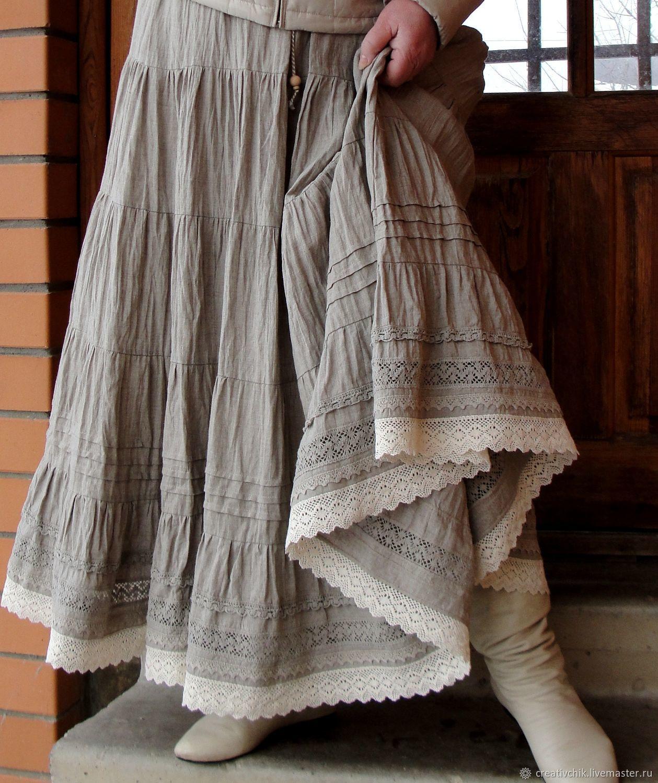 db238f4e074 Юбки ручной работы. Ярмарка Мастеров - ручная работа. Купить Юбка льняная  авторская 3. Длинная летняя юбка. Handmade.
