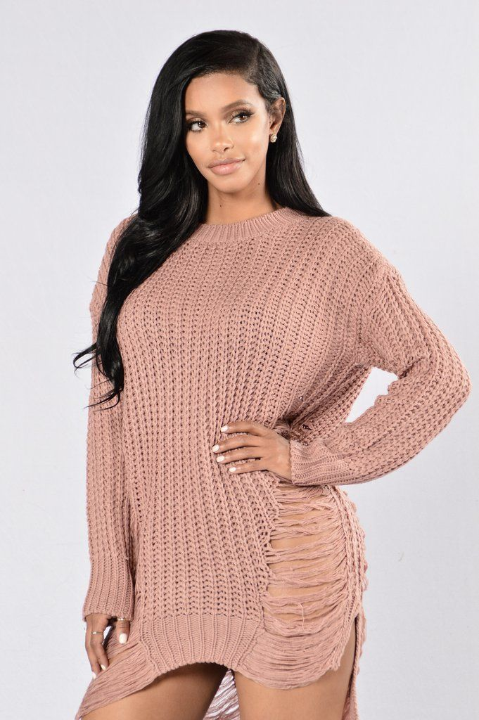 62bb1753c86 Unraveled Sweater - Mauve Chubby Fashion