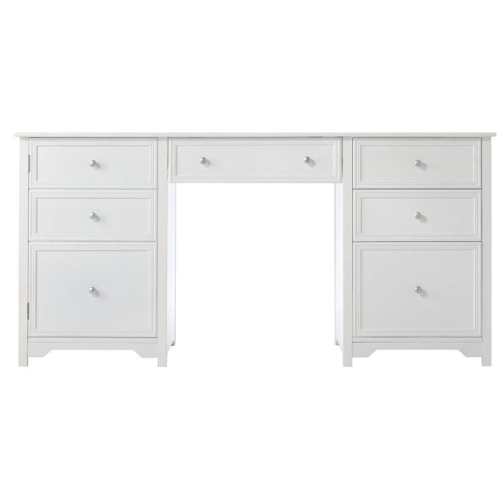 Home Decorators Collection Oxford 1 Door With 4 Drawer Wood Executive Desk In White