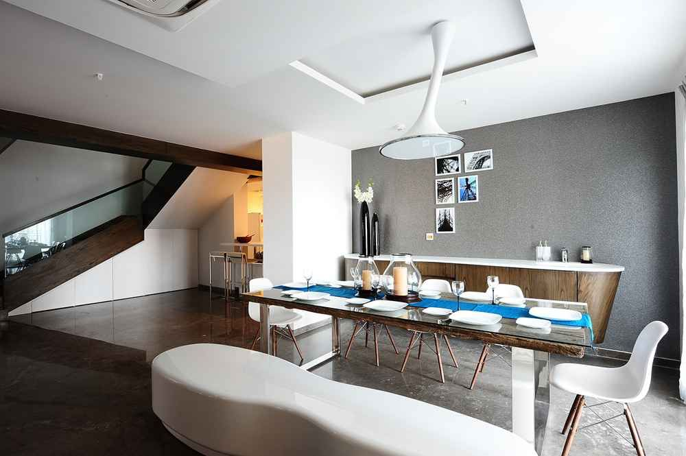 Modern Minimalist Dining Area With Ceiling Spotlight Design By Hameeda Sharma Architect In Hyderabad Andhra Pradesh India