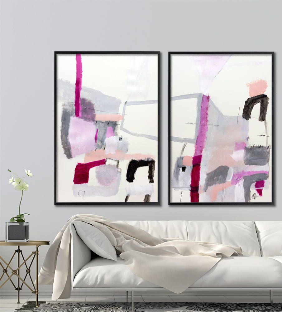 Large abstract painting original art grey and pink wall art pink