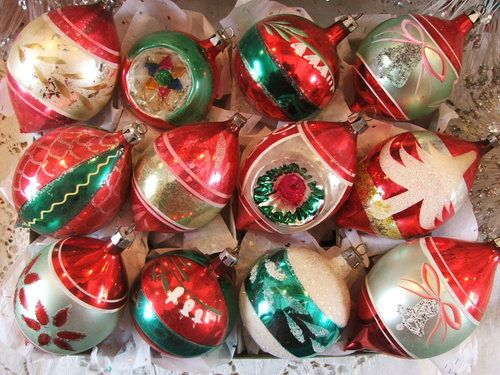 Pretty Antique Vintage Red Green Poland Christmas Ornaments