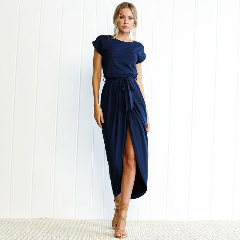 b950c8486852b Women s Solid Short Sleeve Elegant Casual Slit Wrap Maxi Dress with  Waistband