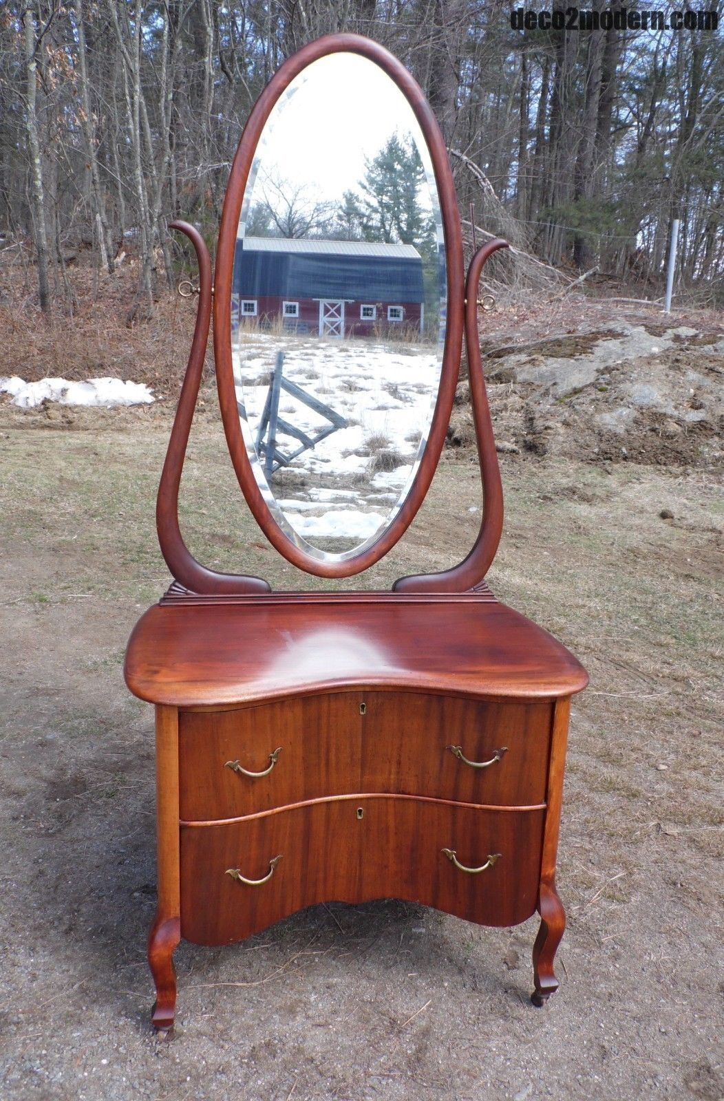 Antique solid mahogany serpentine front dresser vanity w