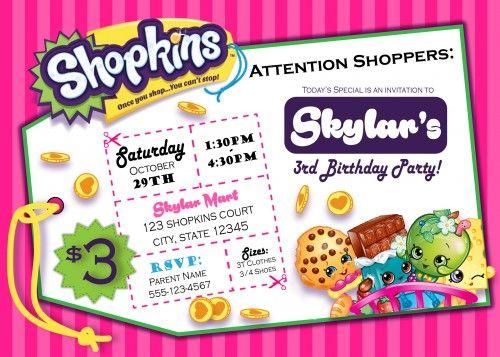 shopkins - digital birthday invitation   shopkins, birthdays and, Birthday invitations