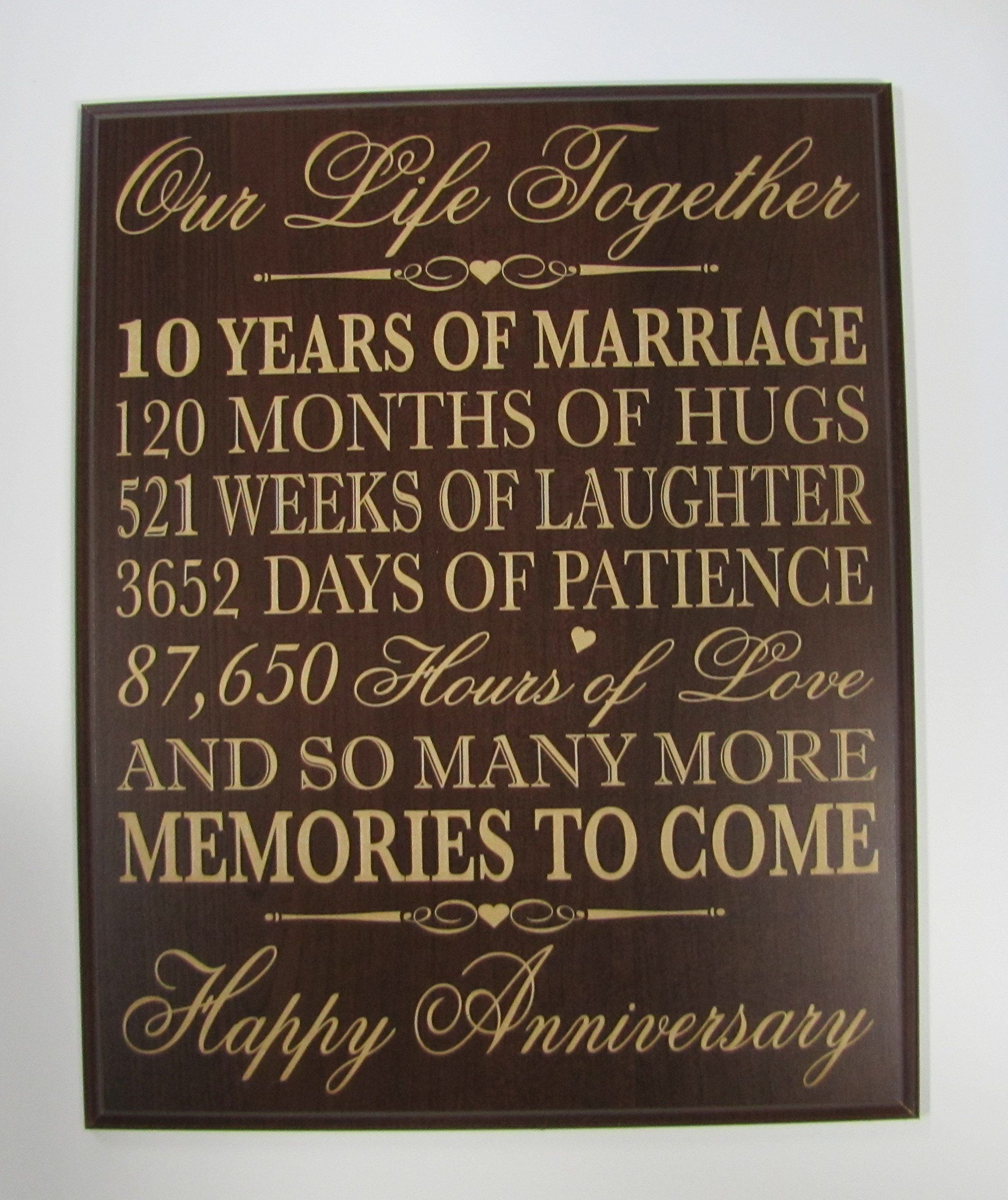 10th Wedding Anniversary Wall Plaque Gifts For Couple 10th Anniversa 10th Anniversary Gifts 25 Wedding Anniversary Gifts 50 Wedding Anniversary Gifts