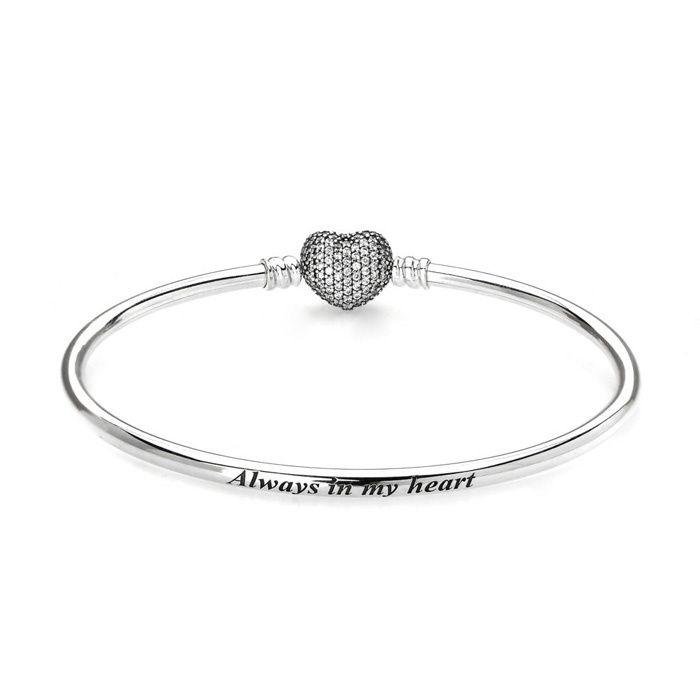 Pandora Sterling Silver Moments Always In My Heart Bangle Diy Bracelets 590722cz