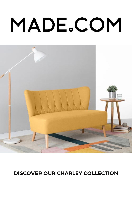 Charley 2 Seater Sofa, Yolk Yellow