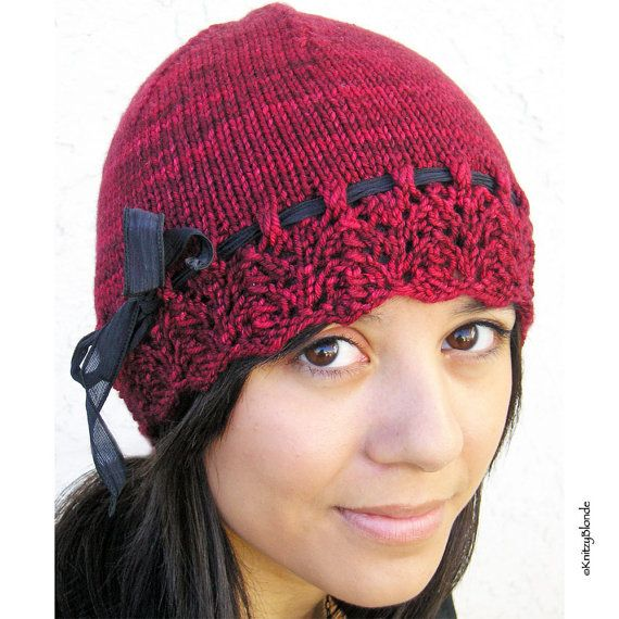 Lacy Hat, Hand Knit, Merino Wool Cashmere Yarn, Ruby Red Lace Edged Silk Ribbon