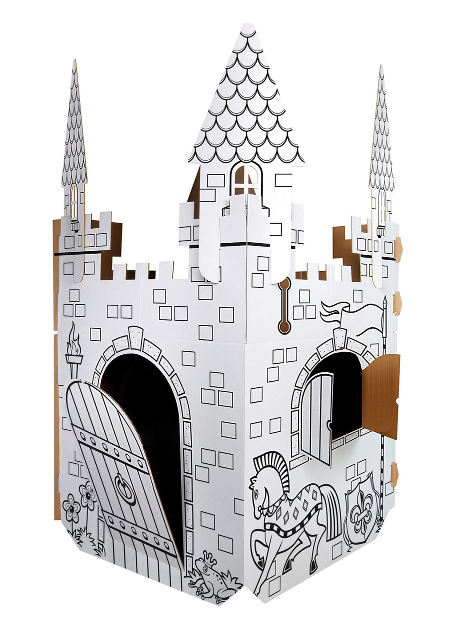 Coloring Cardboard Castle Color In Playhouse Instructions Color Your ...