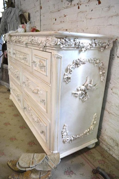 Painted Cottage Chic Shabby Romantic French Dresser DR812