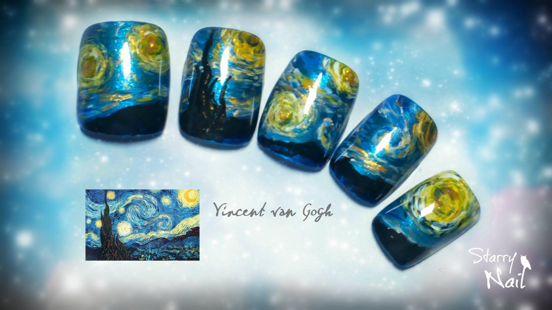 Vincent van Gogh Starry Night Nail Art Tutorial | Nail Art Community ...