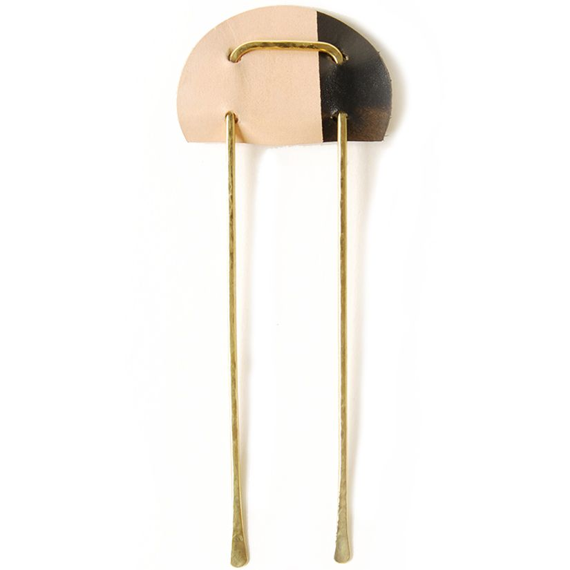 SS16 BRASS AND LEATHER COLOR BLOCK HAIR PIN | Iaret  I have to have this!