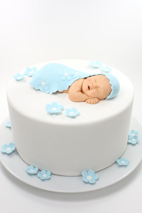 Items similar to Baby Boy Sugar Paste Cake Topper with Baby Blue Blanket & Flowers for Baby Shower by lil sculpture on Etsy