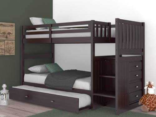 Discovery World Furniture Espresso Staircase Mission Bunk Bed Twin