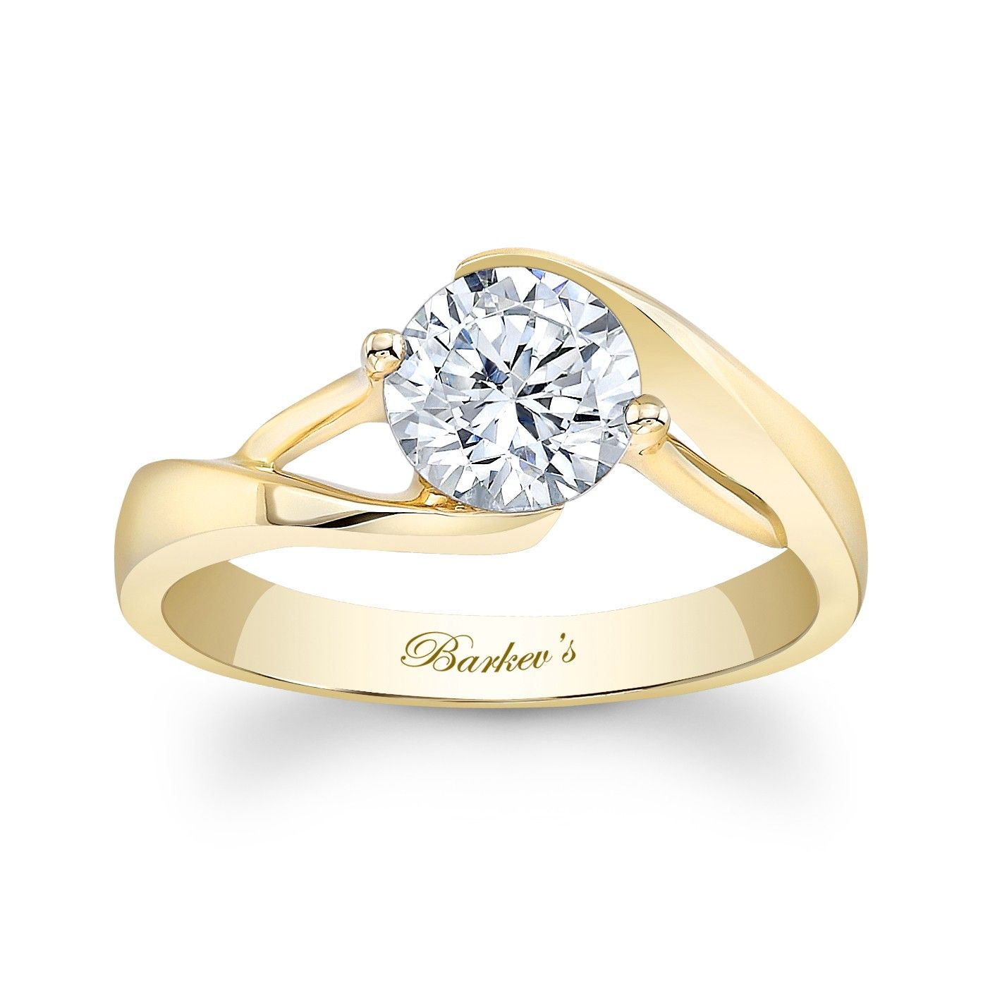 Yellow Gold Solitaire Ring 7543LYW A unique contemporary