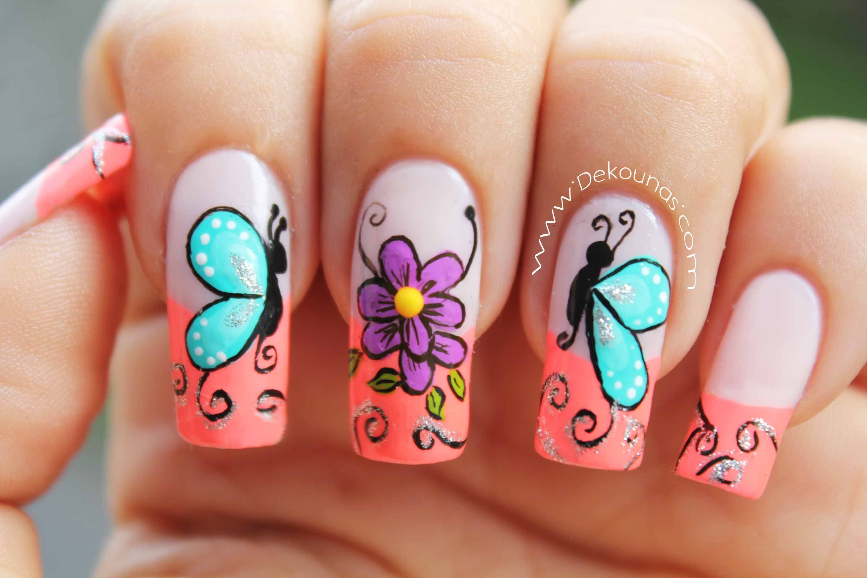 Decoracion de uas mariposas y flores facil Butterfly and flower