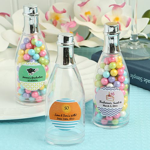 12 Fillable Champagne Bottles Wedding Party Shower Event Favors Candy Clear Gift