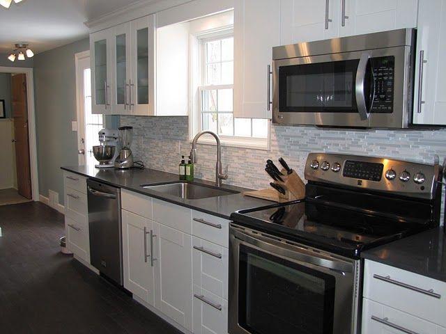 Adel White Kitchen Raven Quartz Countertops And Soffit
