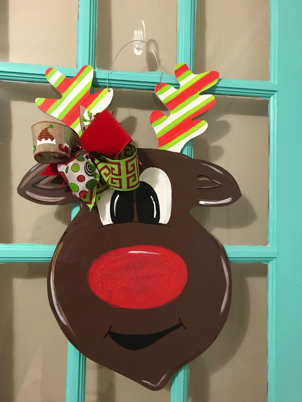 Reindeer Christmas Wooden Door Hanger   Etsy   Christmas ...