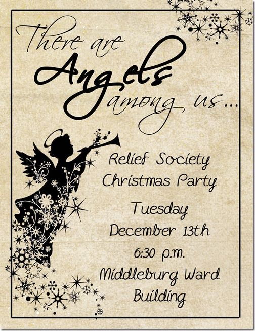 Relief Society Christmas Party Ideas Part - 22: RS Invitation Angels Among Us Christmas