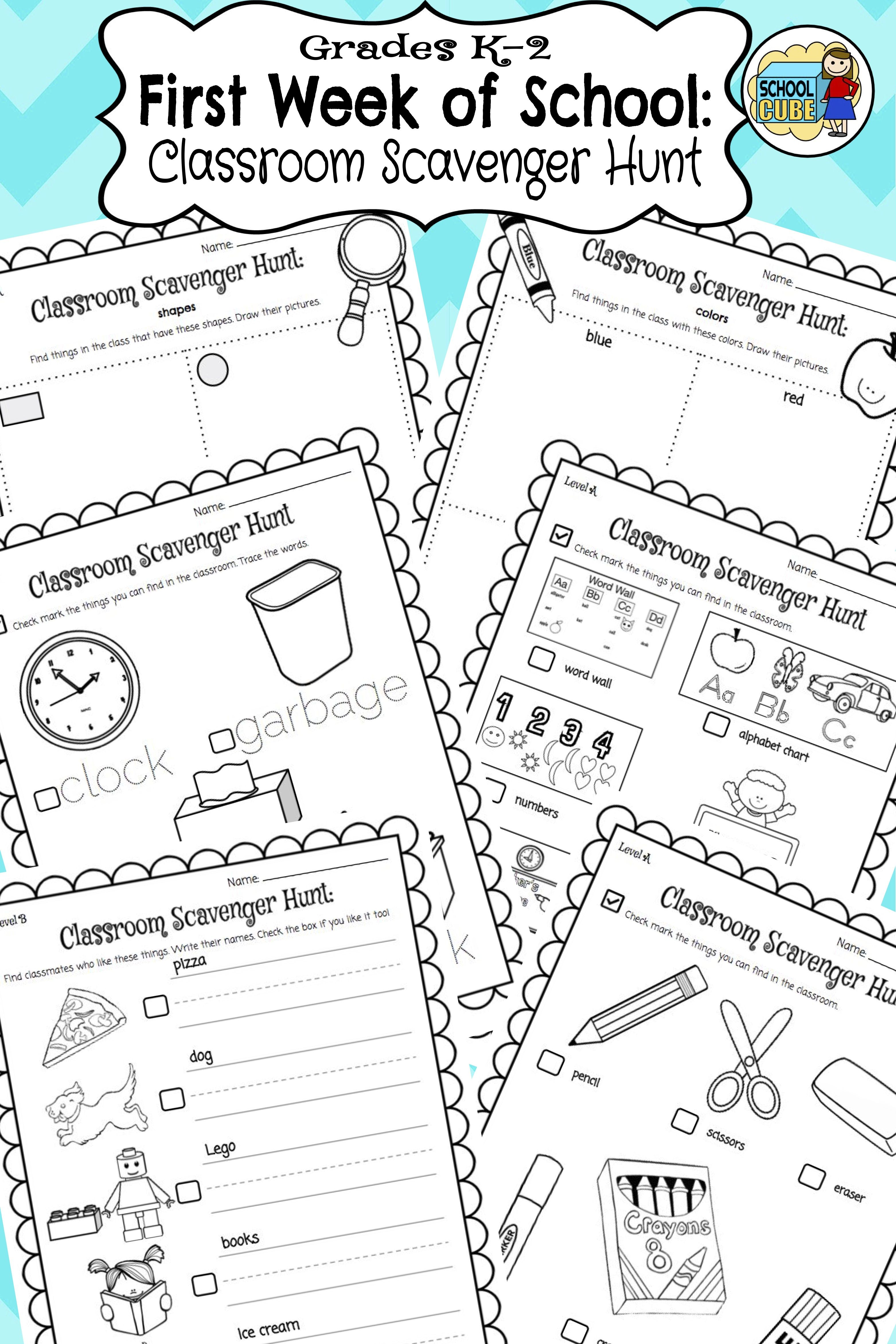 Grades K 2 Back To School Classroom Scavenger Hunt