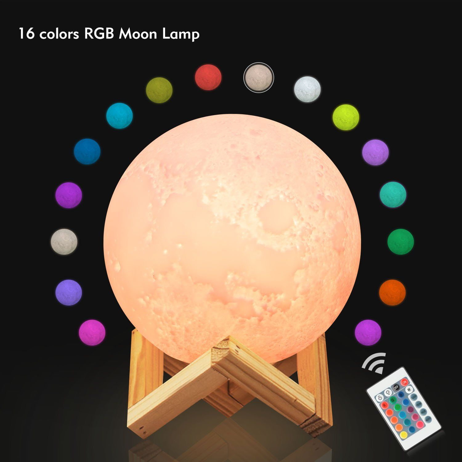 Ehobroc Moon Lamp 9 5 Inch Dimmable Remote Control 16 Colors Rgb Glowing Moon Globe Light 3d Glowing Moon Light With Stand Lunar M Globe Lights Lamp Moon Globe