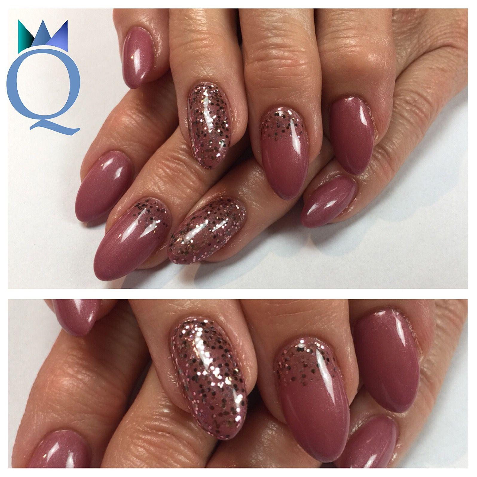 almondnails #gelnails #nails #plum #glitter #mandelform #gelnägel ...