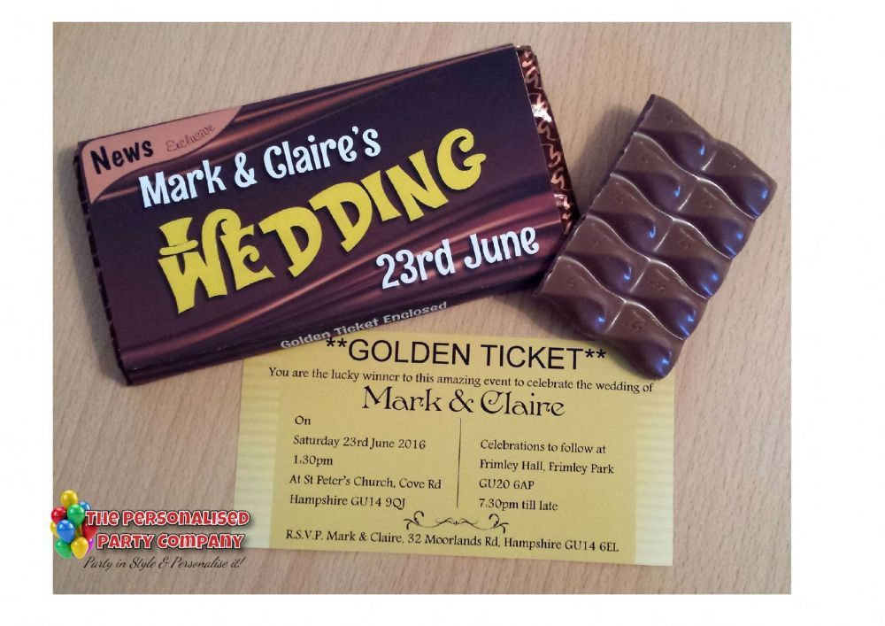 Goldenticket Weddinginvitations Unique Personalised Golden Ticket Chocolate Bar Invitations Will Certainly Get Your Guests
